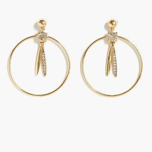 J Crew Gold Pendulum Hoop Earrings